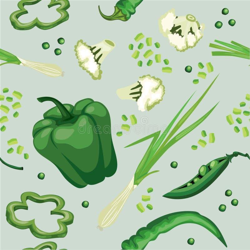 Fundo vegetal verde sem emenda com pimenta doce, ervilhas, quentes ilustração do vetor