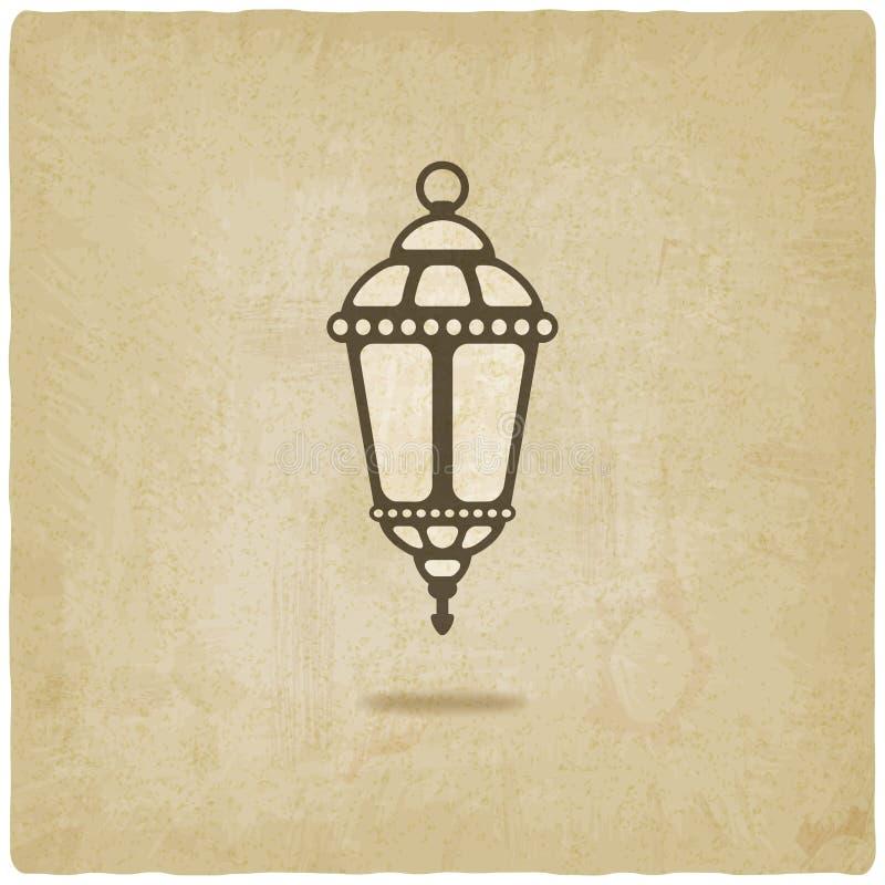 Fundo velho da lanterna da ramadã ilustração do vetor