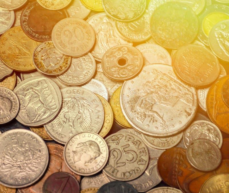 Fundo velho das moedas fotos de stock