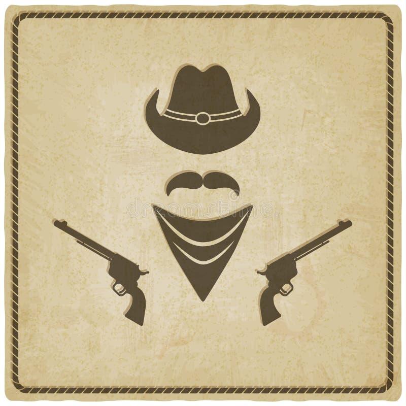 Fundo velho do chapéu e da arma de vaqueiro ilustração do vetor