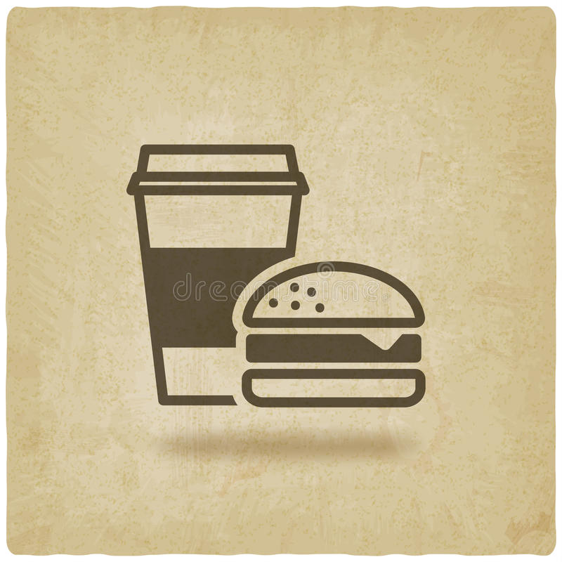 Fundo velho do fast food do café e do hamburguer ilustração do vetor