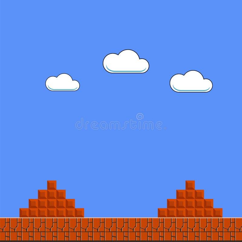 Fundo velho do jogo Arcade Design clássico com nuvens e tijolo ilustração do vetor