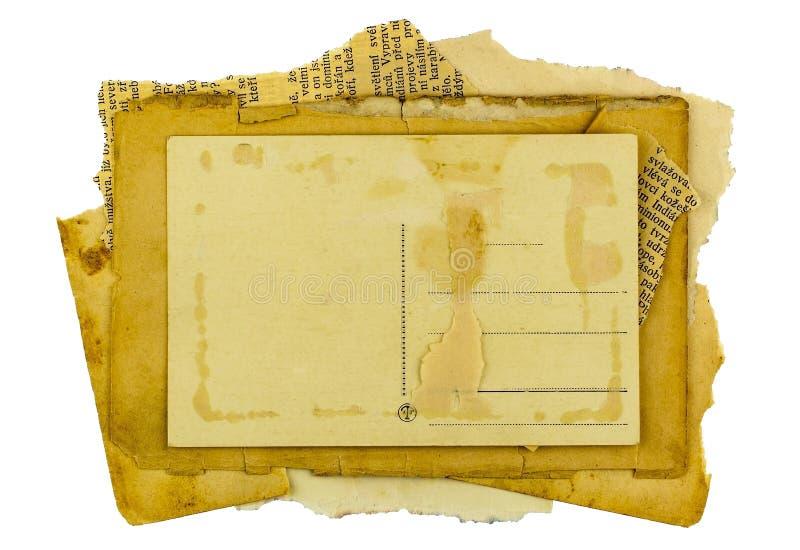 Fundo velho do papel do quadro de cartão do porte postal do vintage fotos de stock