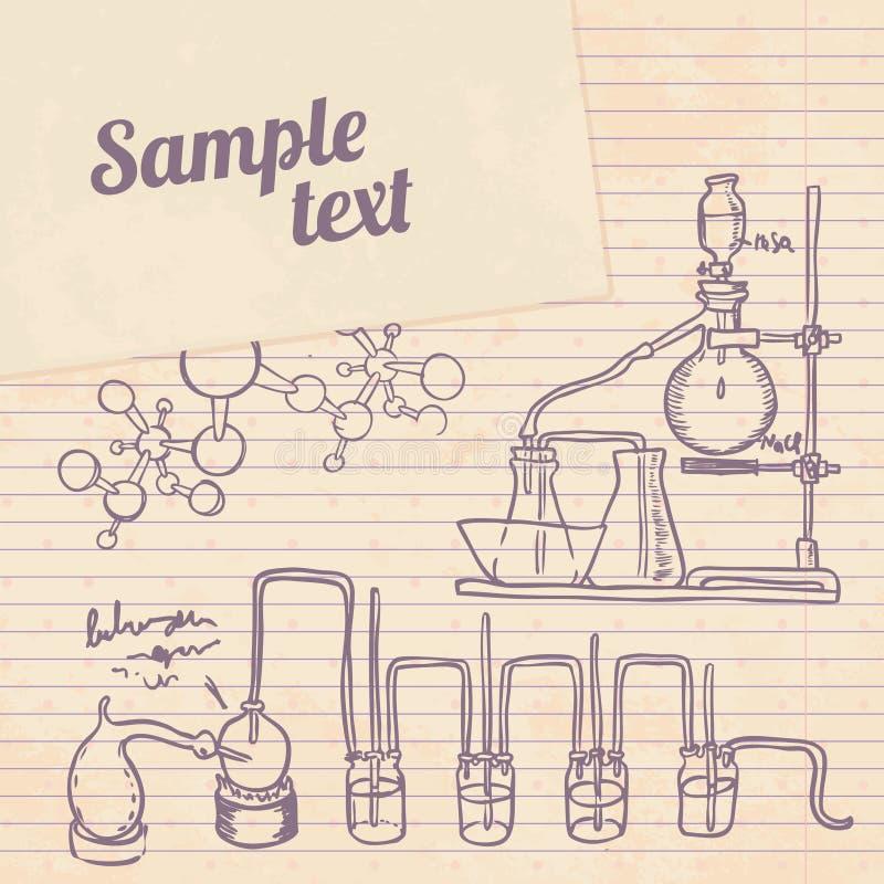 Fundo velho do vintage do laboratório de química ilustração do vetor