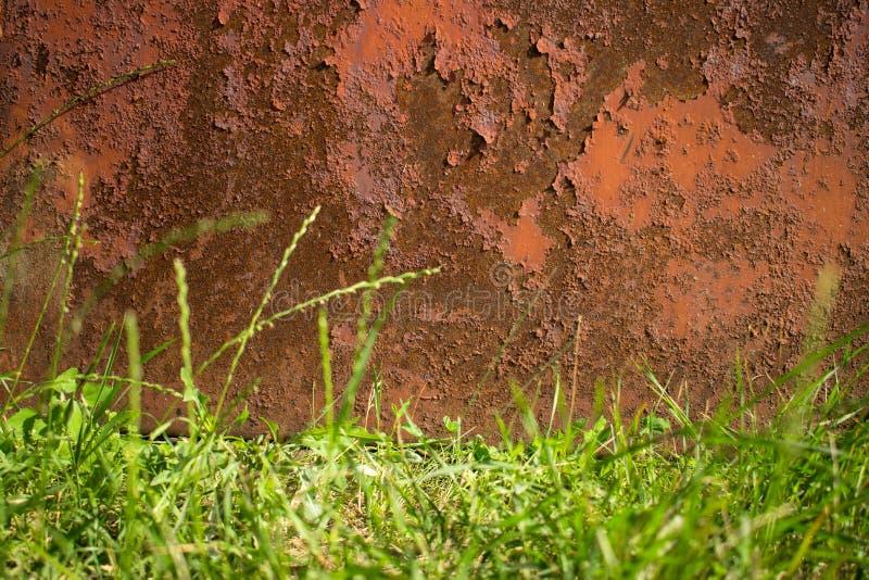 Fundo velho marrom oxidado do metal e uma beira mais baixa do gra verde fotografia de stock