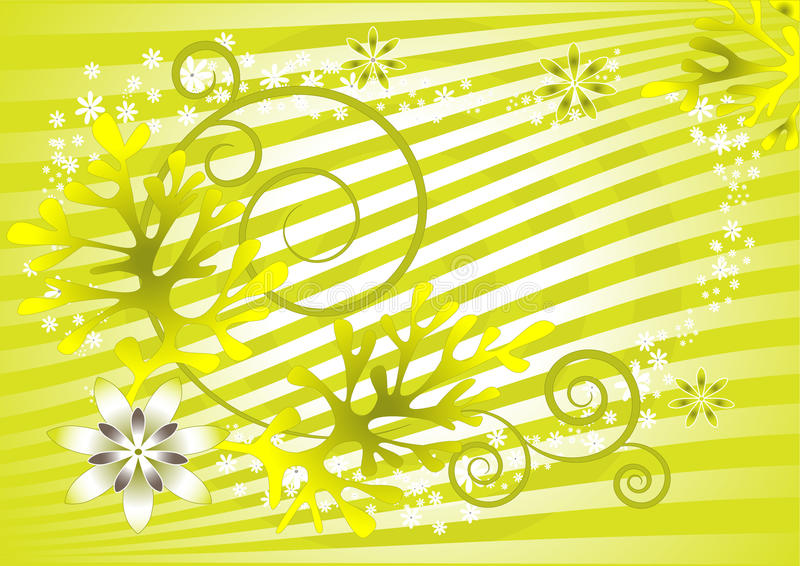 Fundo verde abstrato com flores. Fundo ilustração stock