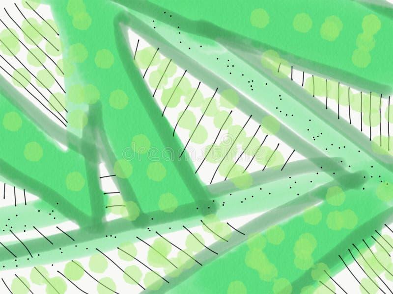 Fundo verde abstrato com linhas e pontos ilustração do vetor