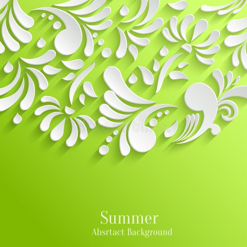 Fundo verde abstrato com teste padrão 3d floral ilustração do vetor