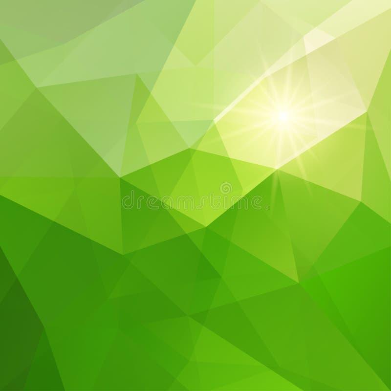 Fundo verde abstrato do triângulo ilustração royalty free