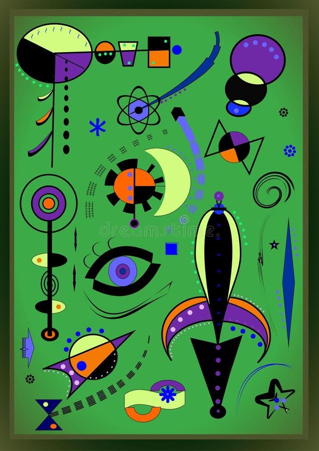 Fundo verde abstrato, pintor do francês do ` de Miro do estilo fotos de stock