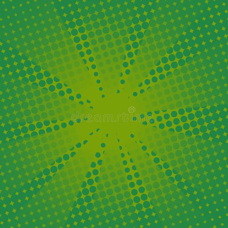 Fundo verde cômico dos raios retros ilustração royalty free
