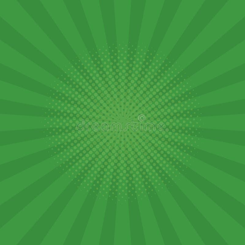Fundo verde-claro dos raios Banda desenhada, estilo do pop art Vetor ilustração do vetor