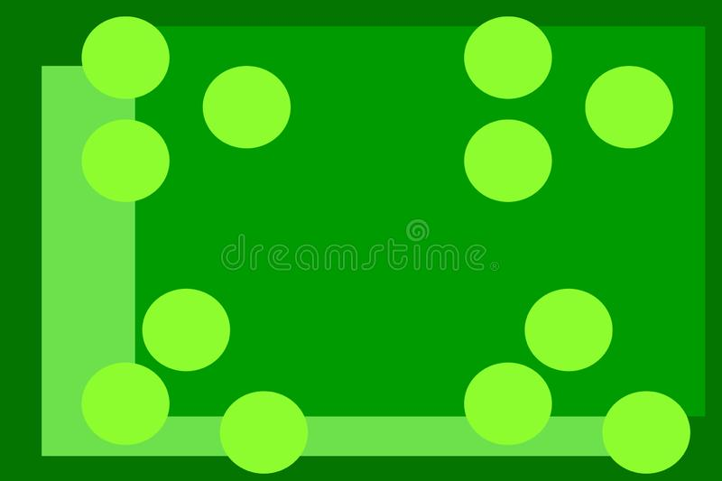 Fundo verde com c?rculos círculos amarelos em um fundo verde Teste padr?o geom?trico abstração verde do fundo ilustração stock