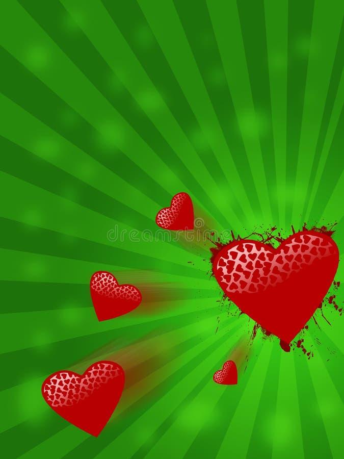 Fundo verde com corações do vôo ilustração do vetor