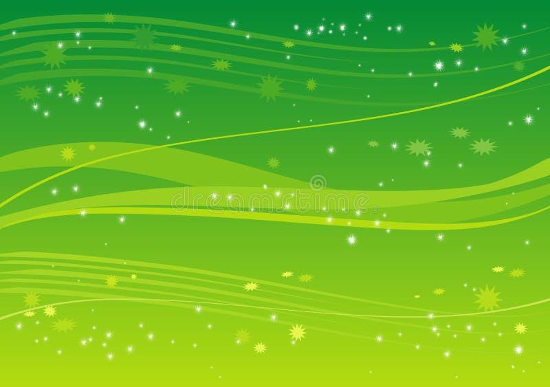 Fundo verde com estrelas ilustração stock