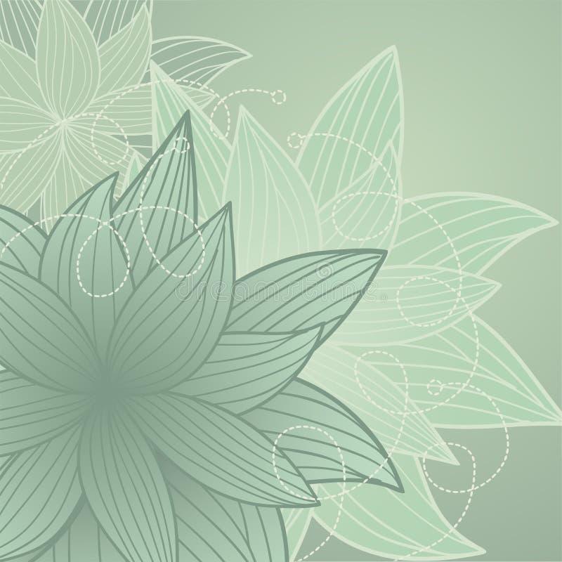 Fundo verde com flores ilustração stock