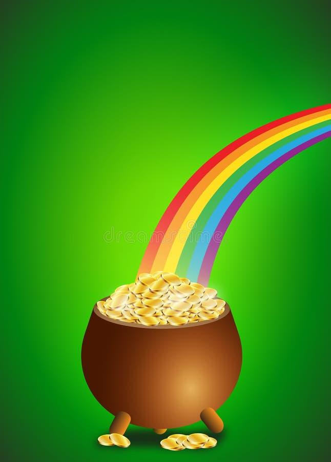 Fundo verde com potenciômetro completamente de moedas de ouro para o dia de St Patrick ilustração stock