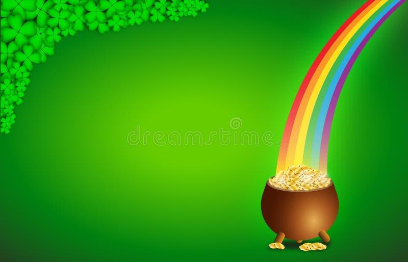 Fundo verde com potenciômetro completamente de moedas de ouro para o dia de St Patrick ilustração do vetor
