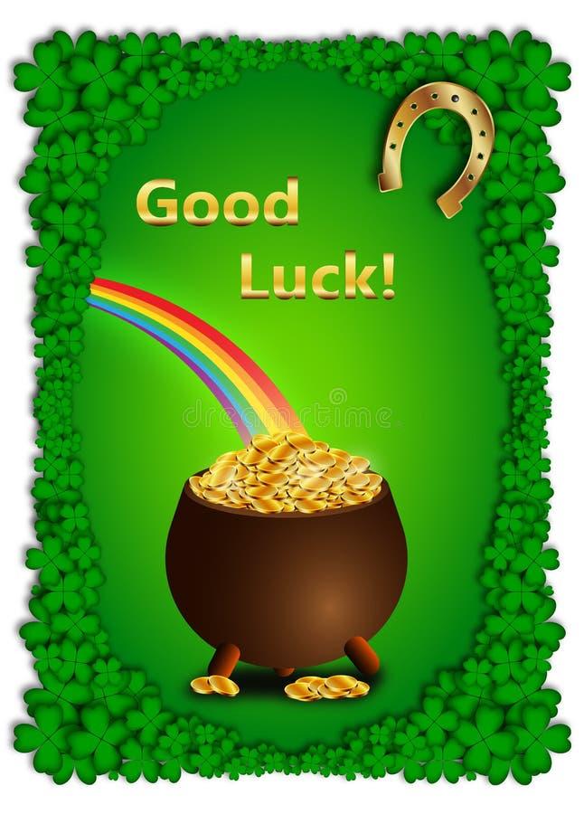 Fundo verde com potenciômetro completamente de moedas de ouro para o dia de St Patrick ilustração royalty free