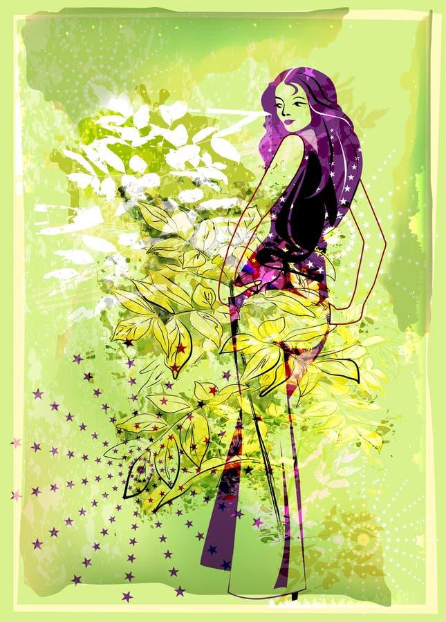 fundo verde com rapariga ilustração royalty free