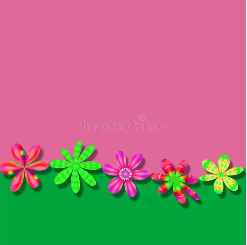 Fundo verde cor-de-rosa do papel de parede do quadro da flor ilustração do vetor