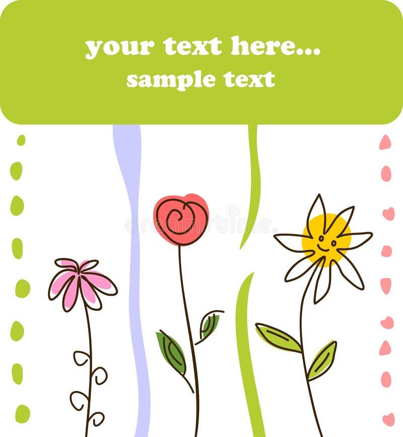Fundo verde da flor do cartão do presente da criança ilustração stock