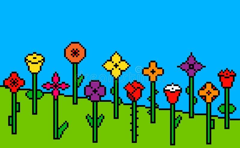 Fundo verde da grama do pixel com flores ilustração stock