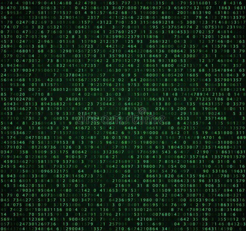 Fundo verde da matriz com dígitos Código de computador para cifrar e codificar ilustração stock