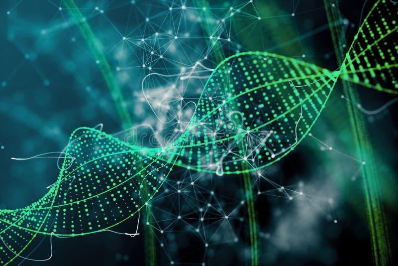 Fundo verde do ADN ilustração royalty free