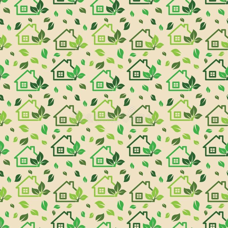 Fundo verde do eco feito de casas verdes e de árvore da ecologia pequena ilustração royalty free