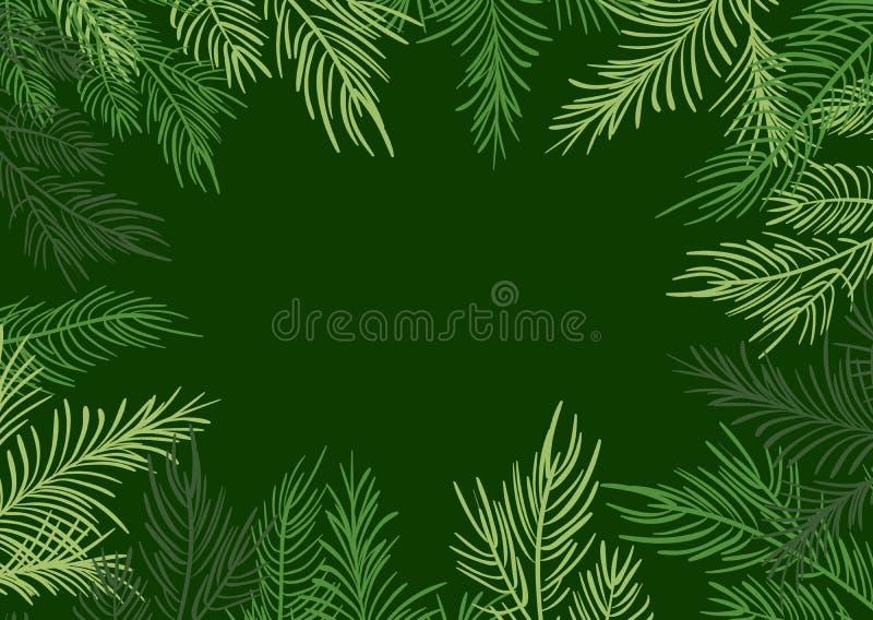 Fundo verde do quadro do Natal da ilustração do vetor com ramos do abeto ilustração do vetor