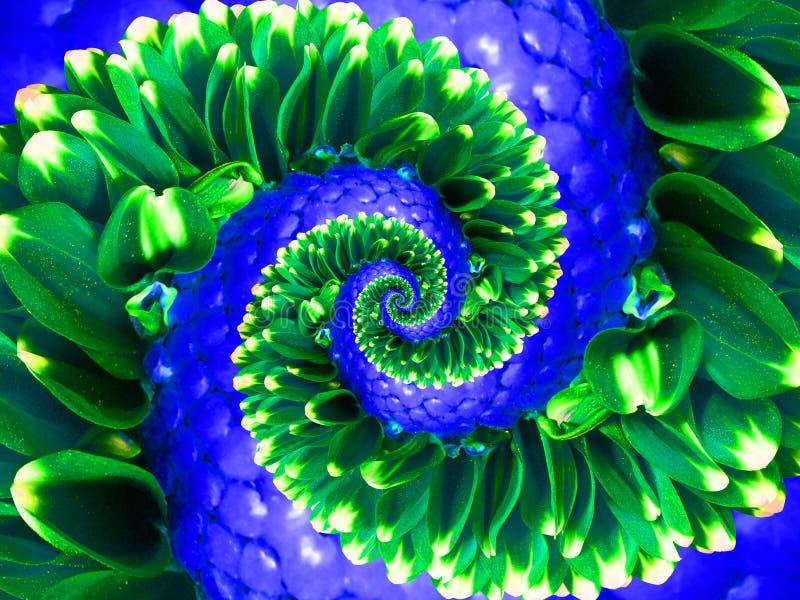 Fundo verde do teste padrão do efeito do fractal do sumário da espiral da flor da marinha Fractal abstrato espiral floral do test fotografia de stock royalty free