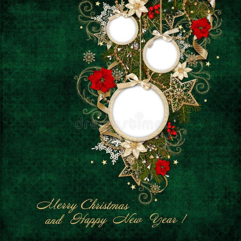 Fundo verde do vintage com quadro e as decorações bonitas do Natal ilustração stock