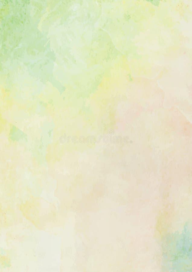 Fundo verde e amarelo do limão da aquarela da tinta da escova do papel ilustração royalty free