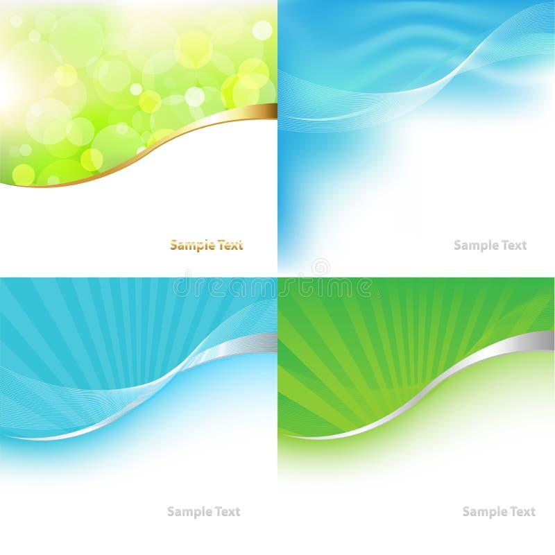 Fundo verde e azul da coleção. Vetor ilustração do vetor