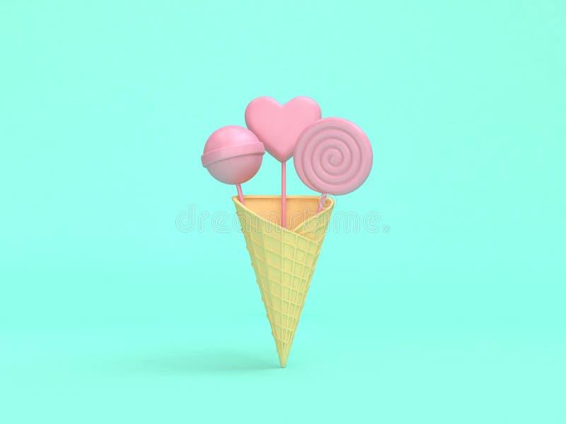 fundo verde mínimo 3d para render o cone de gelado cor-de-rosa abstrato dos doces ilustração royalty free