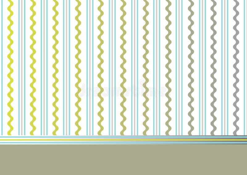 Fundo verde-oliva decorativo com listras e ondas ilustração do vetor