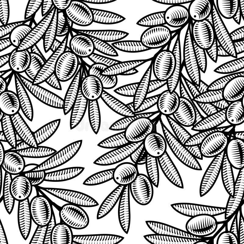Fundo verde-oliva sem emenda preto e branco ilustração royalty free