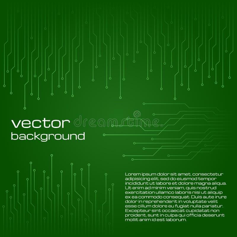 Fundo verde tecnologico abstrato com elementos do microchip ilustração stock