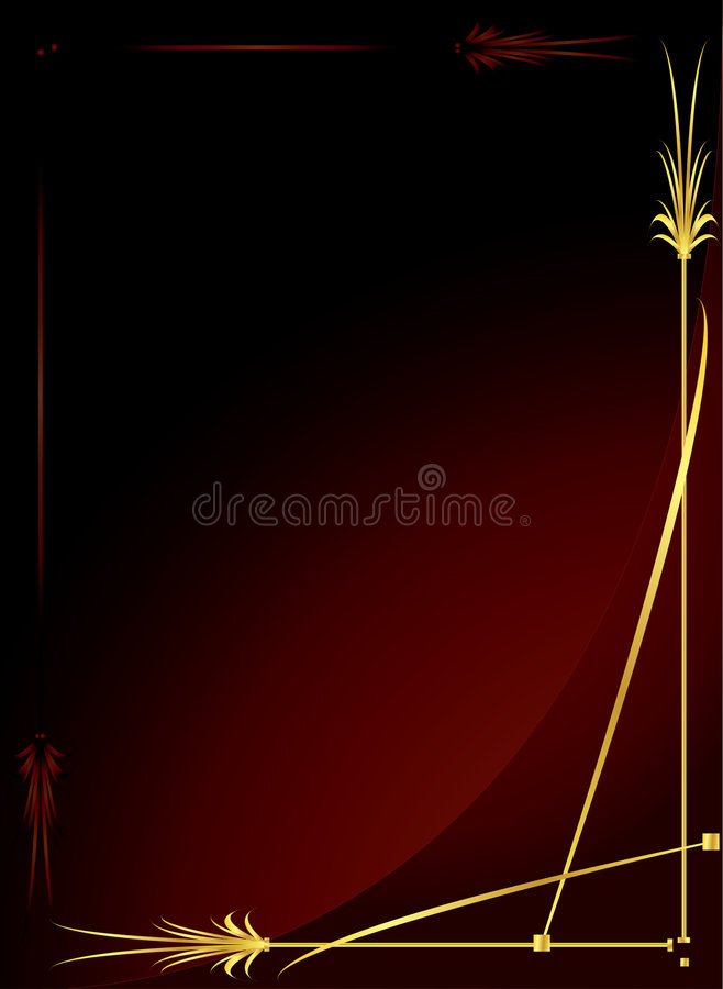 Fundo vermelho 2 do ouro elegante ilustração royalty free