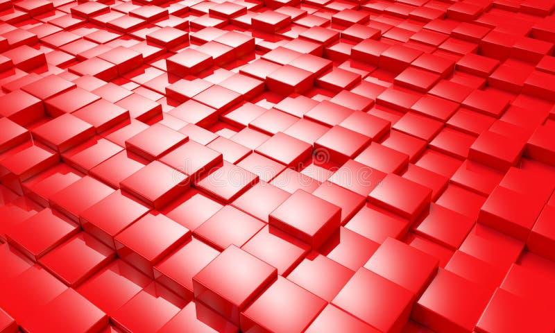 Fundo vermelho abstrato 3d dos blocos do cubo para render ilustração do vetor