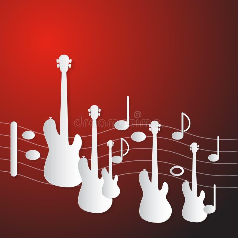 Fundo vermelho abstrato da música ilustração stock