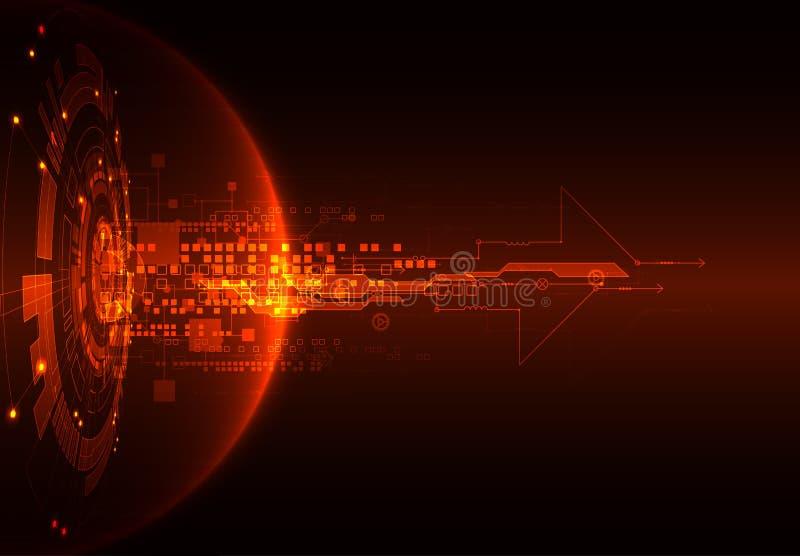 Fundo vermelho abstrato da tecnologia de comunicação digital Vetor ilustração royalty free