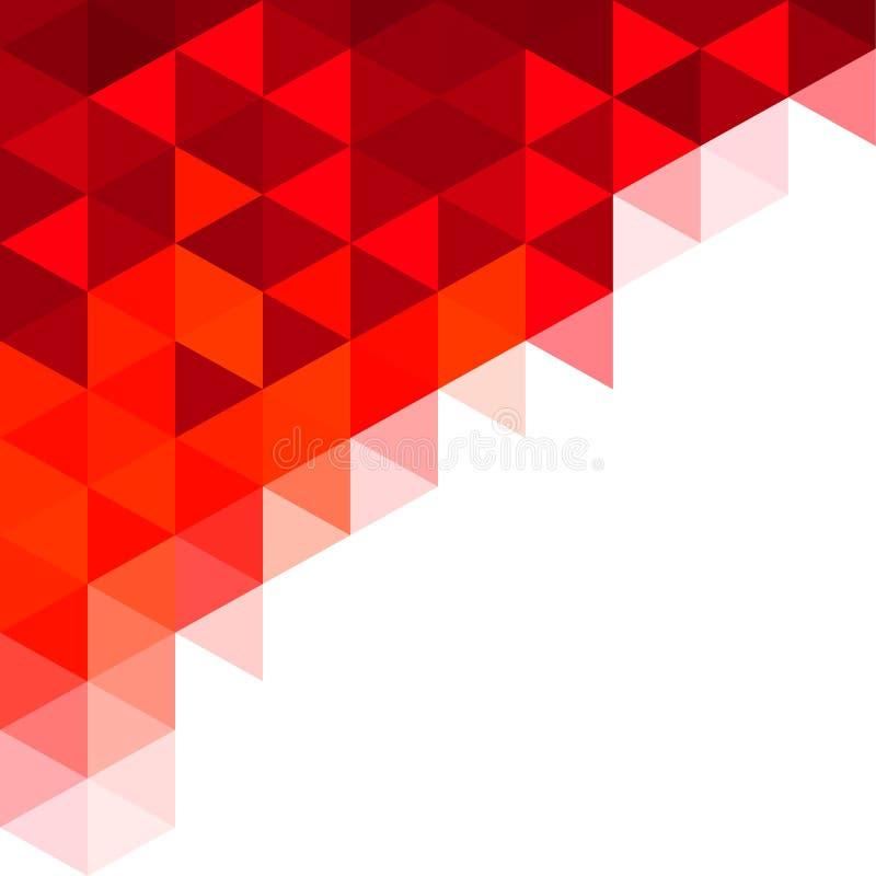Fundo vermelho abstrato do mosaico dos triângulos ilustração stock