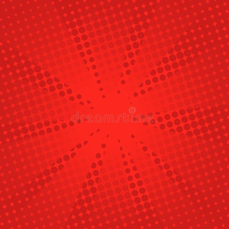 Fundo vermelho cômico dos raios retros ilustração do vetor
