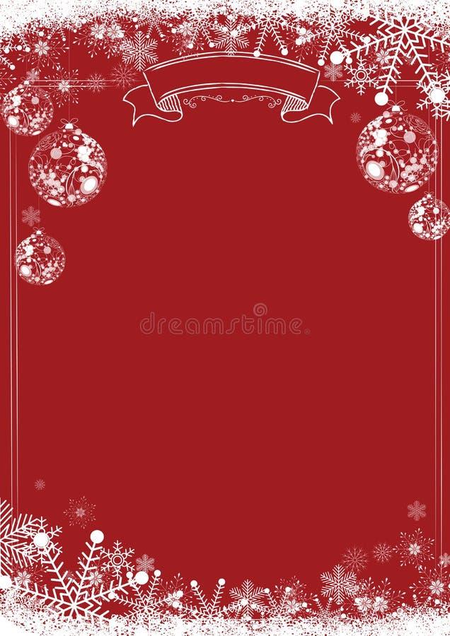 Fundo vermelho clássico do Natal do inverno com bola do xmas ilustração stock