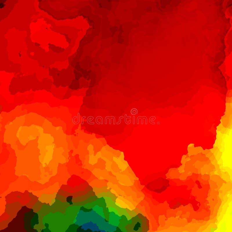 Fundo vermelho colorido da pintura Monitor do computador da ilustração Imagem do efeito Cartão artística Cópia do texto Projeto d ilustração do vetor