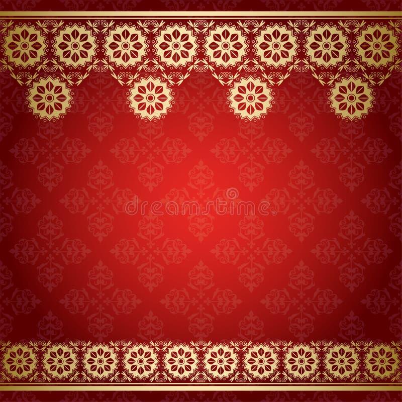 Fundo vermelho com beira floral dourada ilustração royalty free