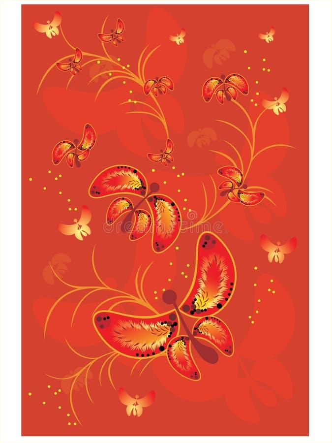 Fundo vermelho com borboleta ilustração stock
