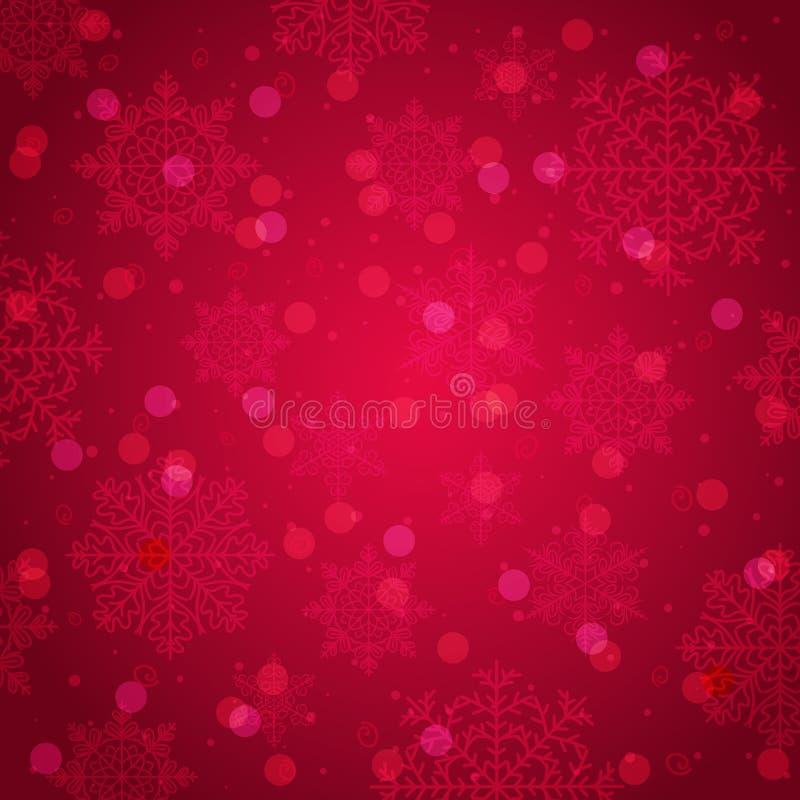 Fundo vermelho com floco de neve e bokeh, vetor ilustração do vetor